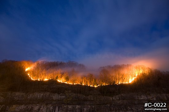 WV mountain wildfire line