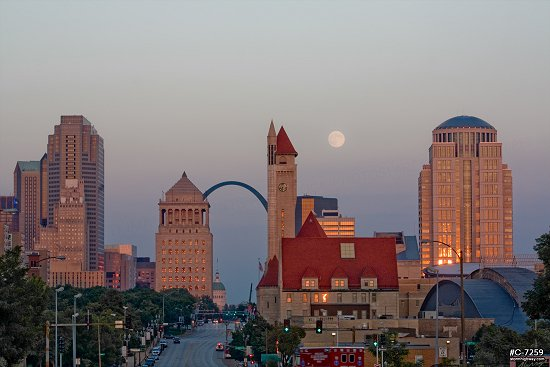 Moonrise over downtown