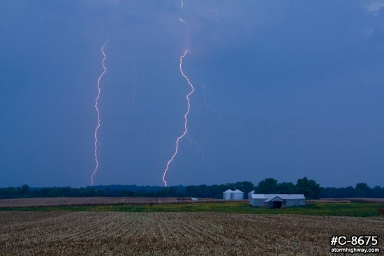 Daylight bolts over farm