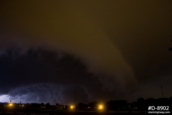Ominous shelf cloud at night