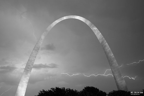 Lightning behind the Arch