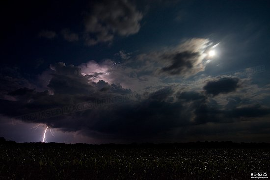 Illinois lightning and moon