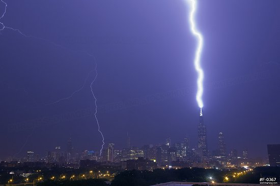 Lightning strikes the Sears (Willis) Tower in Chicago, Illinois