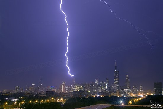 Lightning strikes the Trump Tower in Chicago Chicago, Illinois