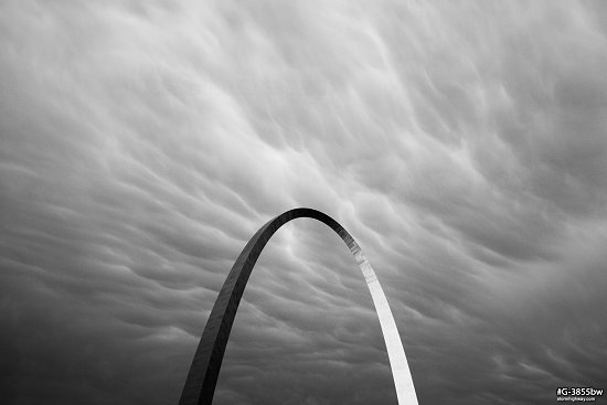 Mammatus clouds over the Arch