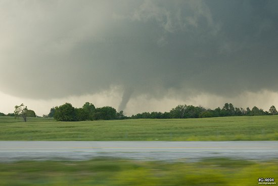 A long-lived EF4 tornado passes near Abilene, Kansas