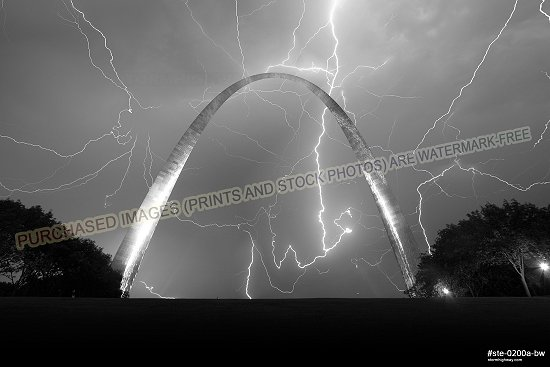 Sky-filling lightning and Arch (stack)
